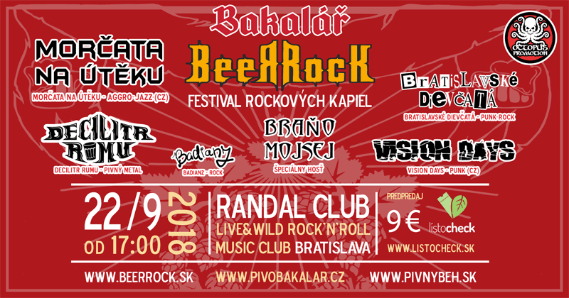 Bakalář BeerRock - koncert Morčata na útěku, Vision days, Bratislavské Dievčatá, Decilitr Rumu a Braňo Mojsej v Bratislave